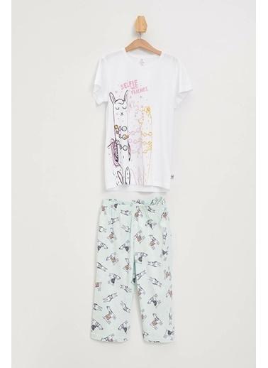 DeFacto Baskılı Örme Pijama Takımı Beyaz